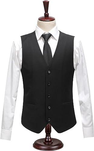 Les Hommes Les Costumes, Gilet de Costume, Veste, Gilet Noir, British,noir,185   XXL