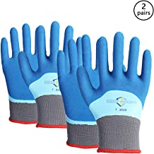 Golden Scute Freezer Winter Work Gloves, Double Lining Textured Rubber Latex Coated, Cold Weather Gloves for Shoveling Snow, Outdoor Heavy Duty Work, 2 Pairs (Extra Large/Size 10)