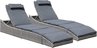 Soleil Jardin Folding Pool Lounge Chair Set of 2 Outdoor Adjustable Chaise Lounge Chair, Fully Assembled, Patio Reclining Sun Lounger, Dark Gray
