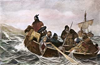 Leif Ericsson (C970-1020) Nnorse Mariner Leif Ericsson Off The Coast of Vineland Oil On Canvas by AO Wergeland Poster Prin...