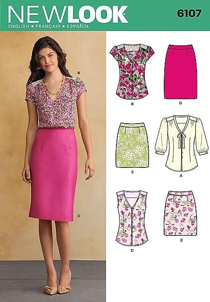 New Look Tamaño 6107 8/10/12/14/16/18 para Blusas de Mujer y Faldas por Patrones de Costura para, Multi-Color