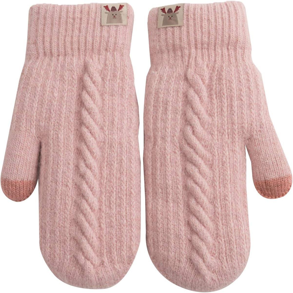 Gloves Gloves Women Winter Plus Velvet Ligature Thickened Warmth Hanging Neck Cashmere Gloves (Color : Pink)