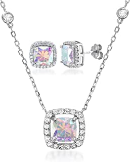 Cubic Zirconia & Aurora Borealis Cushion Pendant & Stud Earring Set in Sterling Silver