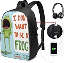 I Don't Want to Be A Frog 17-inch Laptop Backpack with USB Charging Port Men's and Women's Backpack, TSA Laptop Backpack College School Backpack Business Travel Out of The Large School Bag