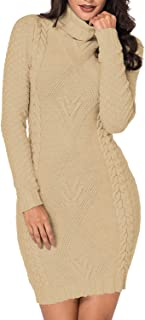 Pink Queen Turtleneck Cable Knit Pockets Sweater Dress Women