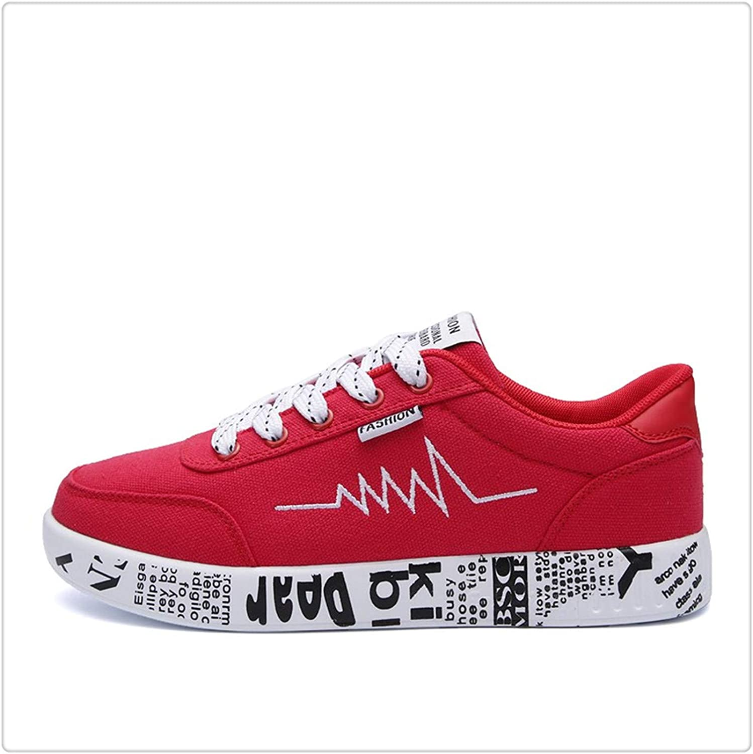 KKEPO& Fashion Women Casual Sneaker shoes Ladies Lace-up Vulcanized Couple shoes Breathable Canvas shoes Graffiti Flat Chaussure Femme RED 2616 8