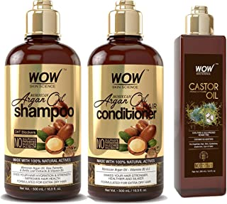 WOW Moroccan Argan Oil Shampoo and Conditioner & Castor Oil - Enhanced Moisture For Natural Hair Growth & Scalp Moisturiza...