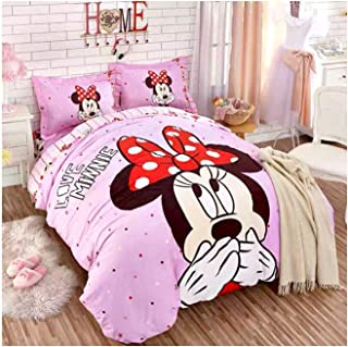 Peachy Baby Featuring Disney Minnie Mouse Bedding Sheet Set Single Queen Twin Full Size 【Free Express Shipping】 【100% Cotton】 Cartoon Girly Pink 3 and 4 Pieces Bed Sheets (Queen/Double/Full Size)