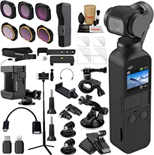 DJI OSMO Pocket 3 Axis Gimbal Camera Elite Combo Bundle with ND & Rotating Polarizer Filter Set, Extension Rod/Selfie Stick, Tripod & Must Have Accessories
