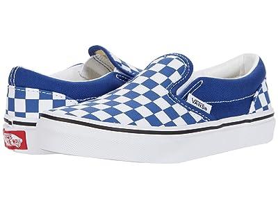 Vans Kids Classic Slip-On (Little Kid) ((Checkerboard) Limoges/True White) Boys Shoes