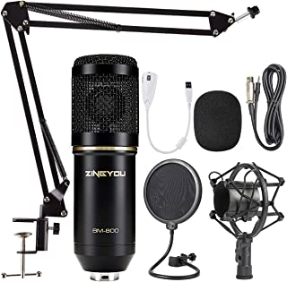 باندل میکروفون کنسرسیوم ZINGYOU، میکروفن BM-800 برای ضبط استودیو و Brocasting (کیت میکروفن (سیاه))