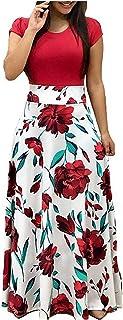 GNRSPTY Mujer Vestidos Casual Verano Manga Corta de Fiesta Largos Floral Impresa Color de Contraste Boho Playa Ceremonia N...