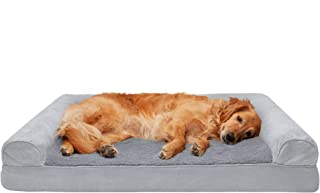 Furhaven Pet Dog Bed | Cooling Gel Memory Foam Ultra Plush Faux Fur & Suede Traditional Sofa-Style Living Room Couch Pet Bed w/Removable Cover for Dogs & Cats