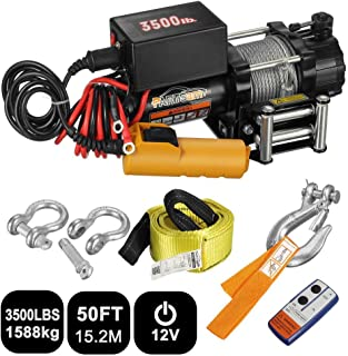 Partsam Electric ATV/UTV Winch 3500lbs/1591kg Trailer Winch for Towing Truck Boat SUV Off Road Winch Kits Recovery Winch with Remote Control/Roller Fairlead/Lift Sling Towing Strap/Shackles