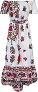 Women Bohemian Print Long Dress Vintage Short Sleeve Slh Neck A-Line Dress Slim Ankle-Length Dresses