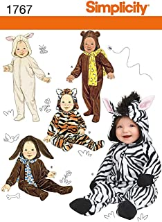 Simplicity 1767 Size A (1/2-1-2-3-4) Toddler's Animal Costumes and Hats Sewing Pattern, Size A (XS-S-M-L)