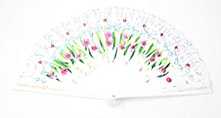 We pay your sales tax Assorted White Double Sided Wooden Spanish Floral Print Design Hand Folding Fan Party Decoration Gift
