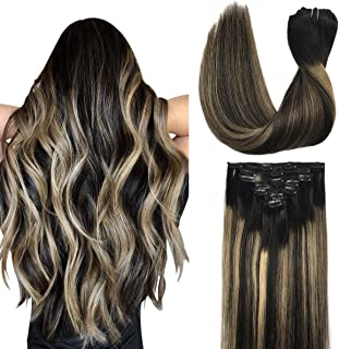 Doores Human Hair Extensions Clip in Hair Extensions Ombre Natural Black to Light Blonde 20 Inch 120g 7pcs Real Hair Exten...