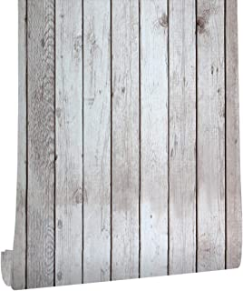 HaokHome 5024 Faux Distressed Wood Plank Peel and Stick Wallpaper Birch/Black Self Adhesive Contact Paper
