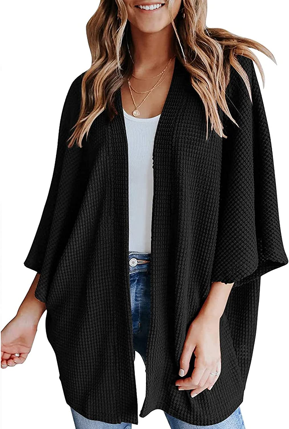 HIFUAR Womens Cardigans Sweater 3/4 Batwing Sleeve Loose Cover Up Lightweight Waffle Knit Open Front Oversized Cardigan