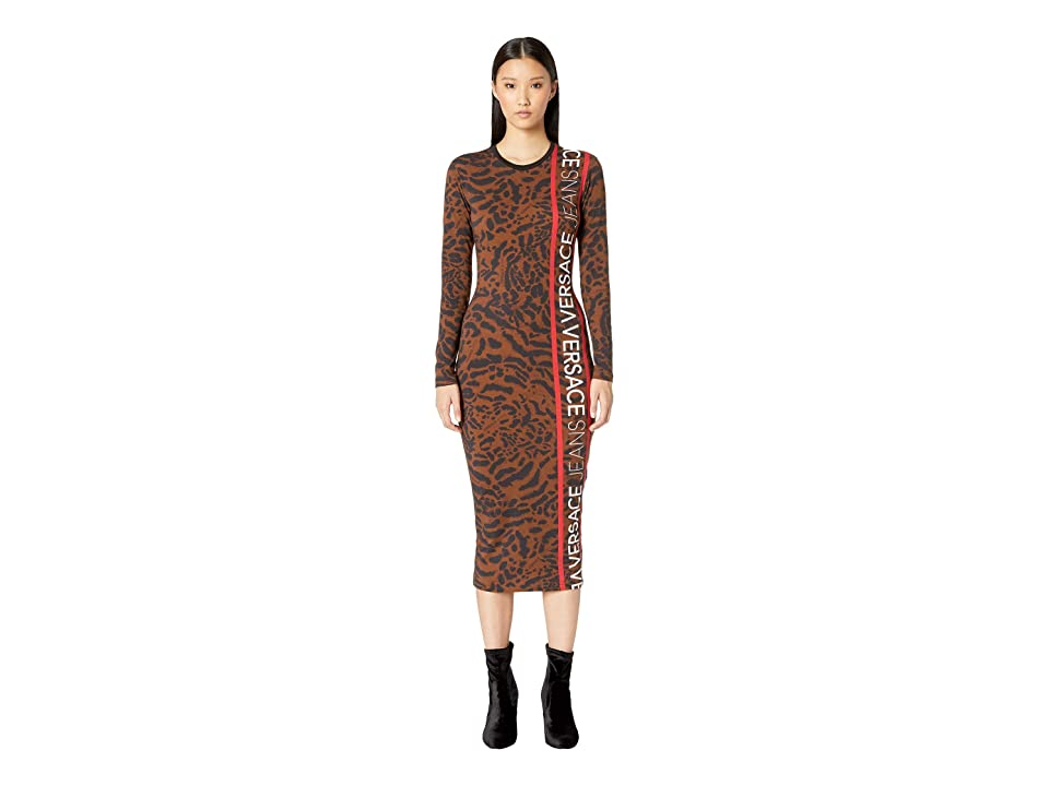 Versace Jeans Long Sleeve Printed Jersey Dress (Brown) Women