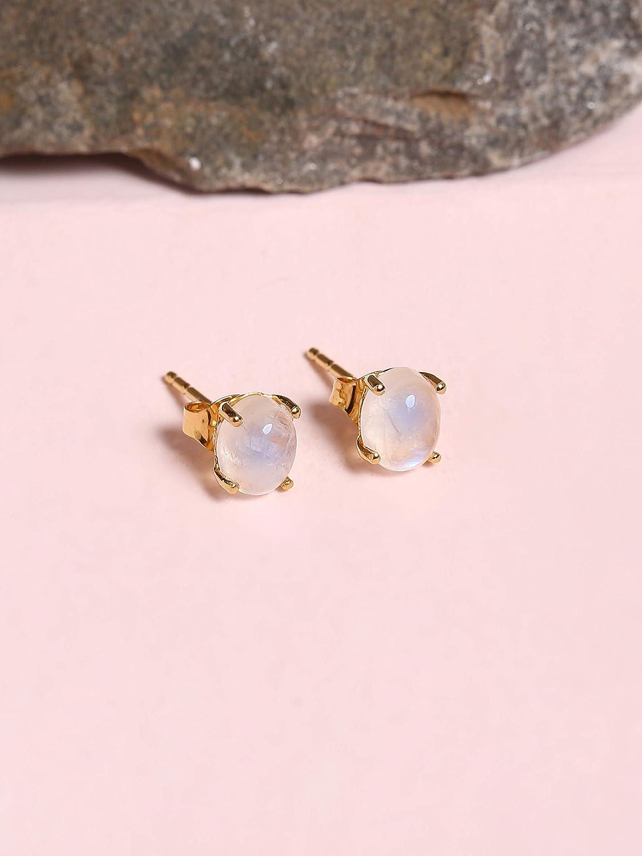 YoTreasure Tanzanite Onyx Turquoise Glass Filled Ruby Blue Topaz Citrine Labradorite Amethyst Moonstone Garnet Solid 10k Yellow Gold Stud Earrings Genuine Gemstone Jewelry