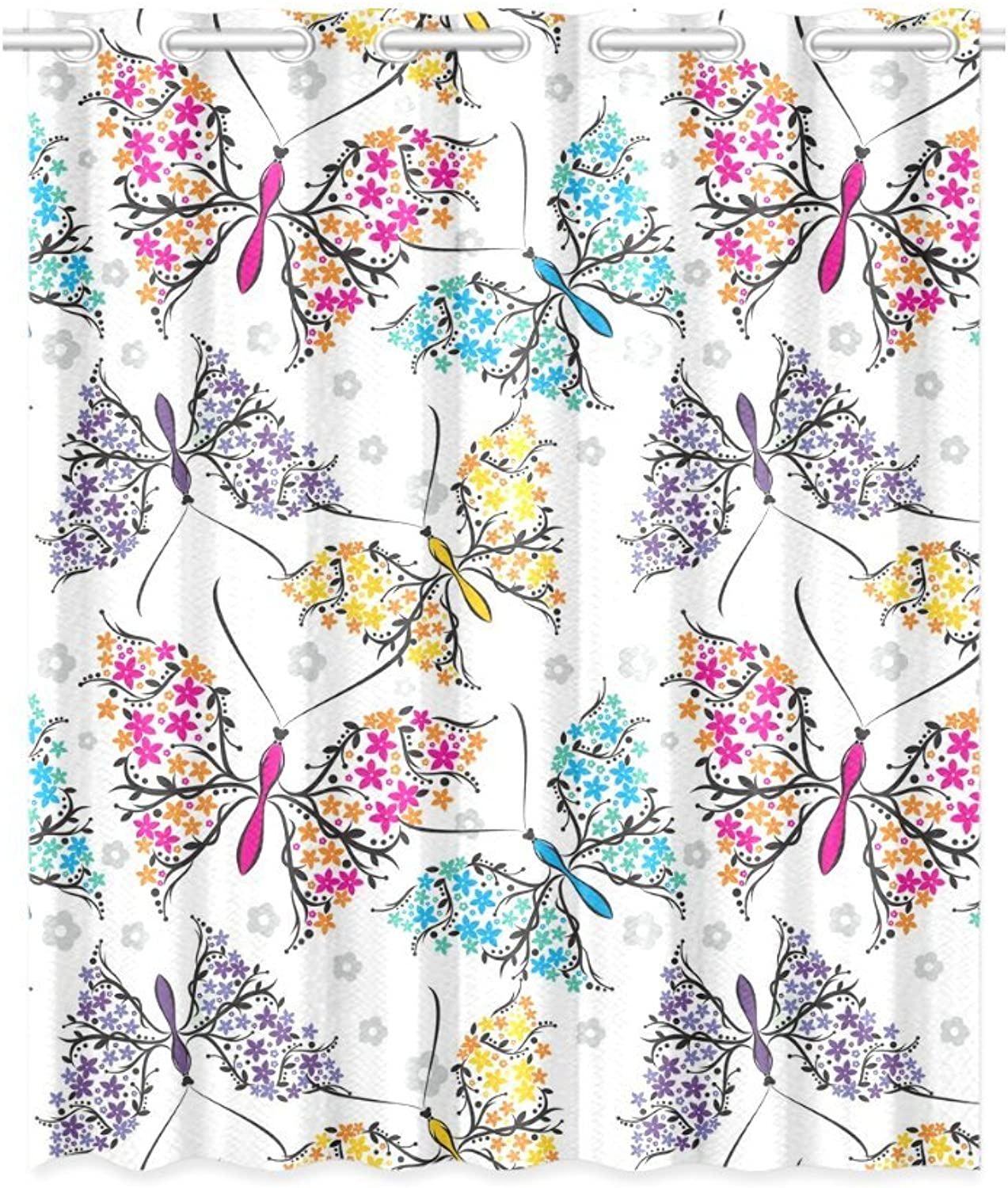 InterestPrint Blackout Window Curtain Butterflies Pattern Room Bedroom Kitchen Home Living Solid Grommet Window Drapes Curtain 52x63 Inch