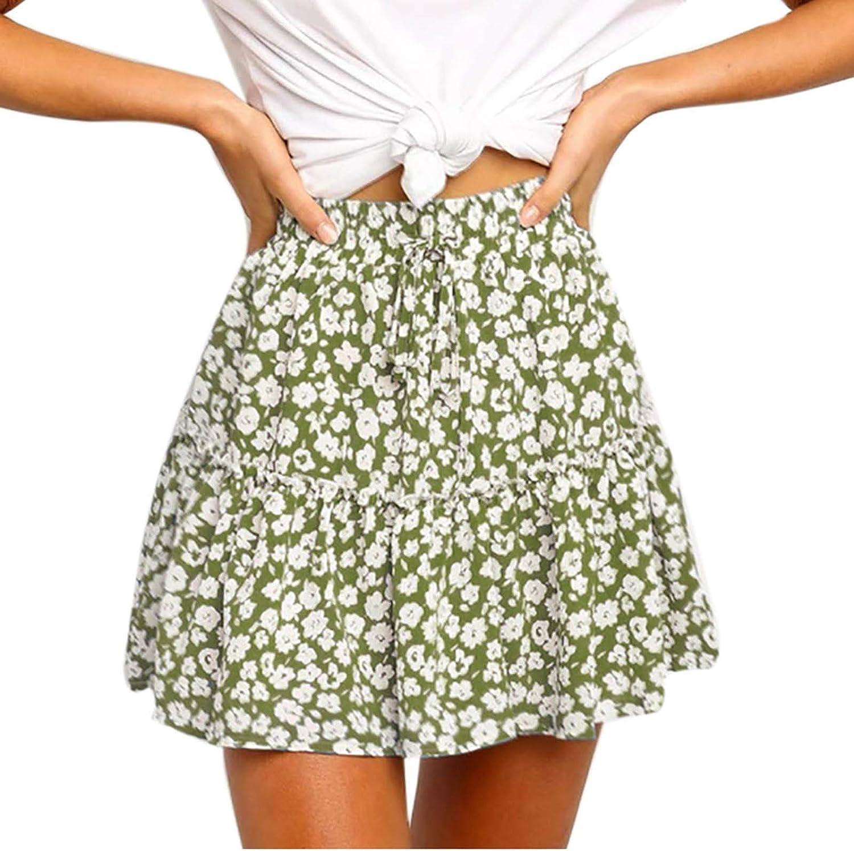 iCODOD Women Floral Drawstring Elastic Mini Casual Skirt Summer Spring Camping Aline Flared Fashion Vintage Midi Tiered