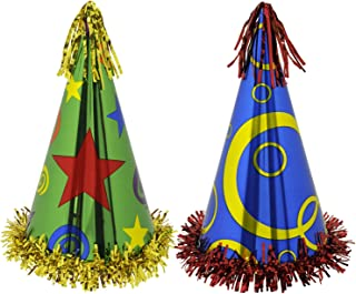 Beistle 60617 12-Pack Fringed Printed Foil Party Hats, 12-1/2-Inch