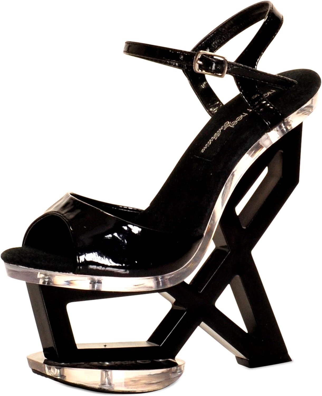 The Highest Heel Women's ASTONISH-11 Qtr Strap with 7  Geometric Black Patent PU Platform Wedge 6 B(M) US