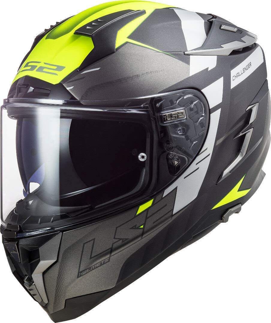 LS2, Casco integral de moto Challenger, Allert, amarillo, M
