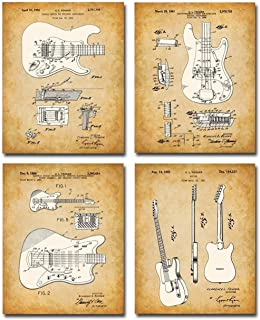 Best Original Fender Guitars Patent Art Prints - Set of Four Photos (8x10) Unframed - Makes a Great Gift Under $20 for Electric Guitar Players Review