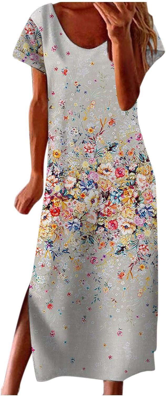 Jaqqra Summer Dress for Women O Neck Daisy Printed Casual Long Maxi Dress Short Sleeve Side Split Cover Up Boho Sundress