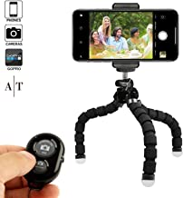 Phone Tripod, Portable and Adjustable Camera Stand Holder with Bluetooth Remote and Universal Clip for Any Smartphone, Cellphone, Phone, Android, Camera, GoPro (Black, 8