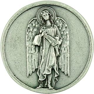 Archangel Saint St Raphael Silver Tone Pocket Token with Prayer Back
