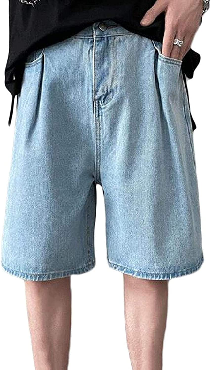 JNBGYAPS Mens Hip Hop Casual Summer Straight Leg Relaxed Fit Denim Shorts Jeans