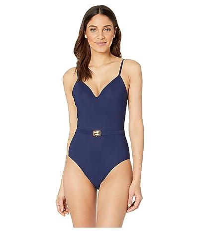 Tory Burch Swimwear T-Belt One-Piece (Navy) Women