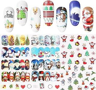 48PCS DIY Christmas Nail Stickers, Witspace Snowflake Snowman Santa Christmas Tree Reindeer Heart Jingle Bell Doll Sleigh Nail Art
