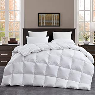 ROYALAY Luxurious Goose Down Comforter Queen Size Duvet Insert, All Season, White Solid, 750+ Fill Power 42oz Fill Weight, 1200 Thread Count 100% Cotton Shell with 8Tabs, Hypo-allergenic(Queen,White)
