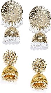 Zaveri Pearls Combo of 2 Antique Gold Tone Traditional Jhumki Earrings For Women-ZPFK7387