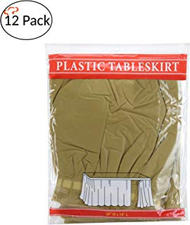 Tigerchef Gold 12 Pack 14-inch x 29-inches Long Plastic Table Skirt, Table Skirts Fit Rectangle And Round Table Decorations