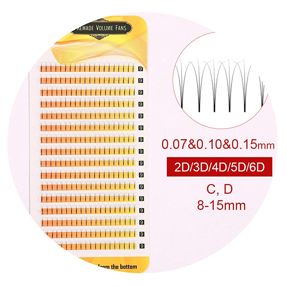 16 Lines 8-15mm Prefabricated Volume Tabs Individual Eyelash Extensions with 2d / 3d / 4d / 5d / 6d Fans, Russian Volume Tabs Extensions, Silk Eyelashes,D,0.10mm,15mm,Black 6d fans
