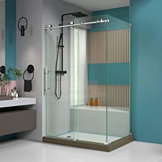 DreamLine Enigma-X 32 1/2 in. D x 48 3/8 in. W x 76 in. H Fully Frameless Sliding Shower Enclosure in Brushed Stainless St...