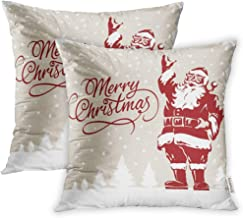 Emvency 20x20 Inch Decorative Set of 2 Throw Pillow Cover Vintage Father Christmas Santa Claus Merry Script Calligraphic Fully Adjustable Square Home Cushion Sofa Two Sides Pillow Case