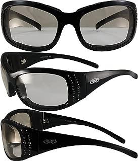 Global Vision Marilyn Motorcycle Sunglasses Rhinestone Black Frames Clear to Smoke Lens
