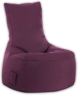 Gouchee Home Brava Swing Collection Polyester Upholstered Bean Bag Armless Lounge Chair, Aubergine
