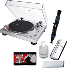Audio-Technica AT-LP120XUSB Direct-Drive Professional Stereo Turntable (Silver) with Cleaning Kit