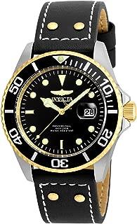 Men's 'Pro Diver' Quartz Stainless Steel and Leather Watch, Color:Black (Model: 22074)