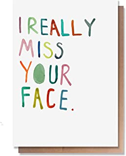 Funny Miss You Cards by Wunderkid – I Really Miss Your Face (Blank inside)