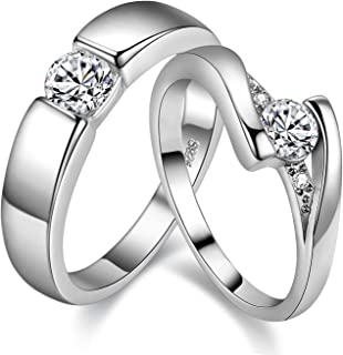 2 pcs His and Hers Matching Engagement Rings Set with Round Cubic Zirconia Platinum Plated Couples Wedding Ring J045